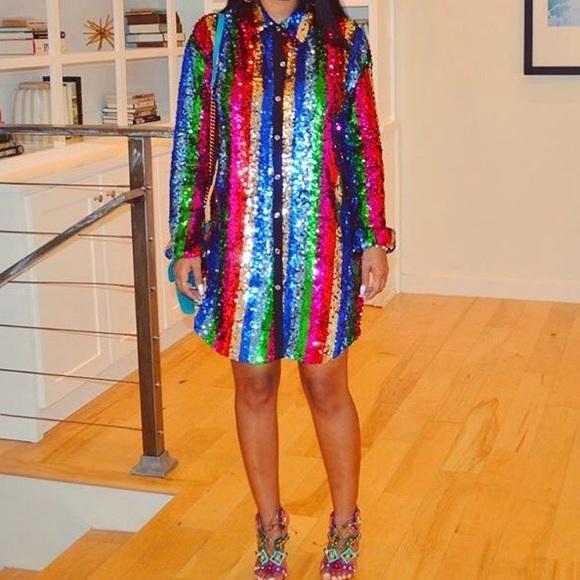 524f214b96ce Dresses | Sequin Rainbow Shirt Dress | Poshmark